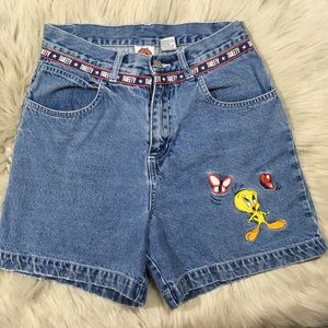 Vintage 1999 tweety bird high rise jean shorts
